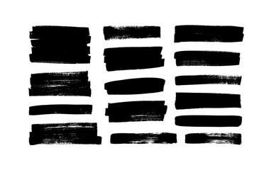 Fototapeta Vector black paint, ink brush strokes, rectangular shapes. Dirty grunge design elements, rectangle or background for text. Grungy black smears or rough lines. Hand drawn grunge ink illustration  obraz