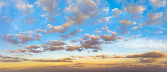Sunset, sunrise sky and beutiful cloud. Cloudscape concept.
