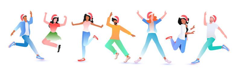 Wall Mural - mix race people in santa hats having fun new year christmas holidays celebration concept full length horizontal vector illustration