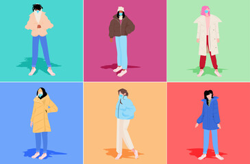 Wall Mural - set mix race women in winter clothes wearing masks to prevent coronavirus pandemic covid-19 quarantine concept full length horizontal vector illustration