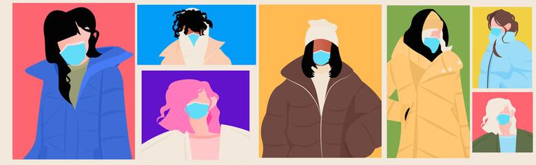 Wall Mural - set mix race women in winter clothes wearing masks to prevent coronavirus pandemic covid-19 quarantine concept portrait horizontal vector illustration