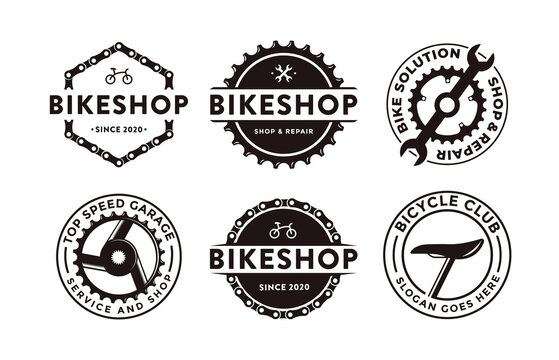 Set of badge emblem bicycle shop bike club logo icon vector illustration with gear crank and mechanic tool concept