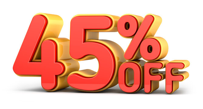 Red and yellow text, 45% off isolated on white background. Off 45 percent. Sales concept. 3d illustration.