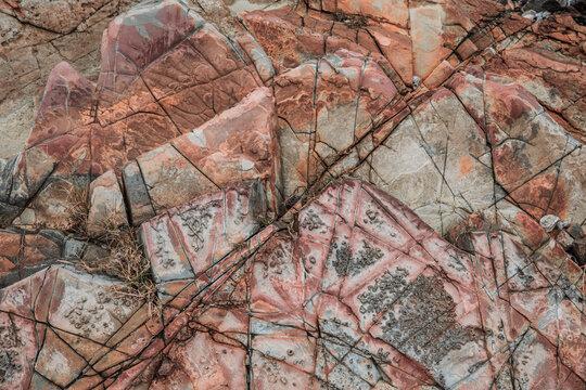 Volcaniclastic sedimentary rock in  Geo Park, Lai Chi Chong, Hong Kong