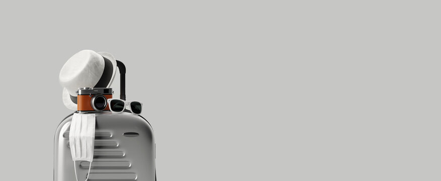 Suitcase with face mask and travel accessories  on gray background. 3d rendering