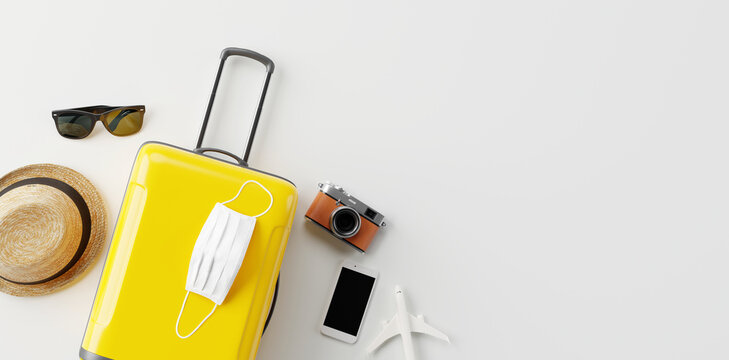 Flat lay yellow suitcase with face mask and travel accessories  on white background. 3d rendering