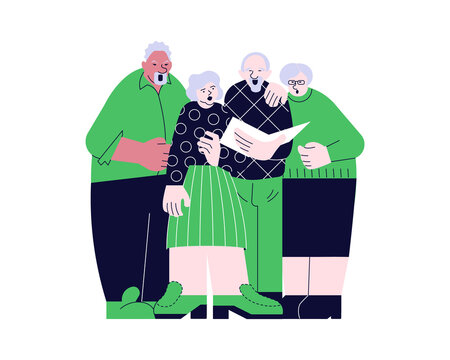 Elderly people choral singing from song book together vector illustration. Seniors couples have music hobby