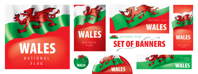 Fototapeta Vector set of banners with the national flag of the Wales obraz