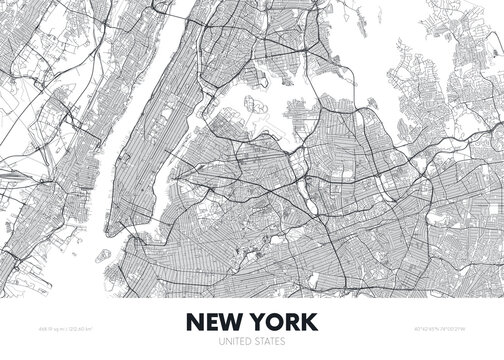 City map New York USA, travel poster detailed urban street plan, vector illustration