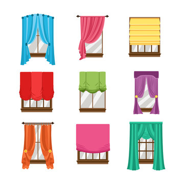 Collection of window blinds, curtains, drapery and shades a vector illustrations