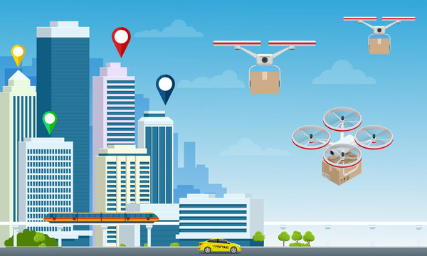 Delivery drone with the cardboard box flying over the town. Quadcopter carrying a package to customer. Technological shipment innovation. Drone delivery service .