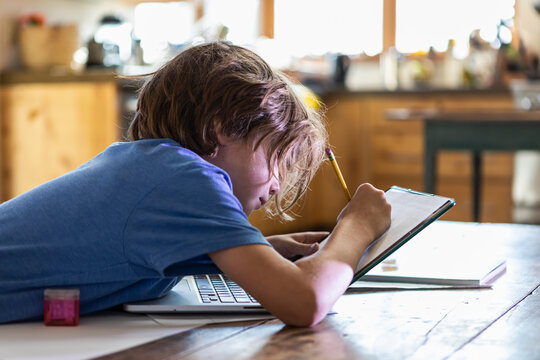Young boy tracing on his laptop computer
