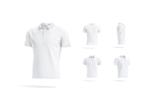 Blank white polo shirt mockup, different views