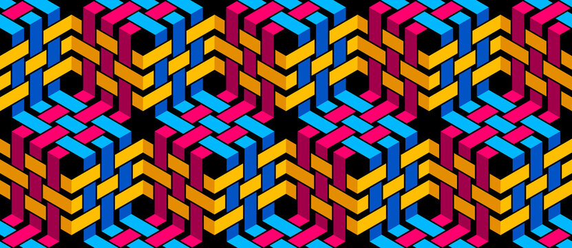 Stripy mesh weaving cubes seamless pattern, 3D abstract vector background for wallpapers, op art dimensional optical illusion design. Colorful version.