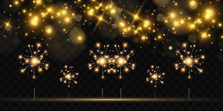 Vector illustration of sparklers on a transparent background.