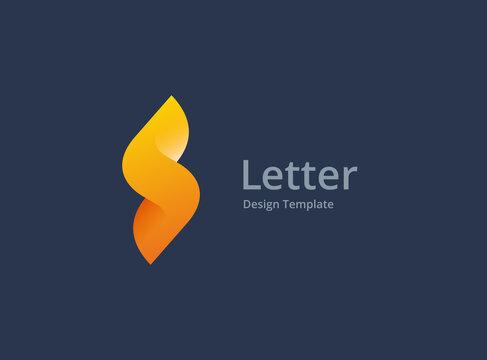 Letter S or number 5 lightning logo icon design template elements