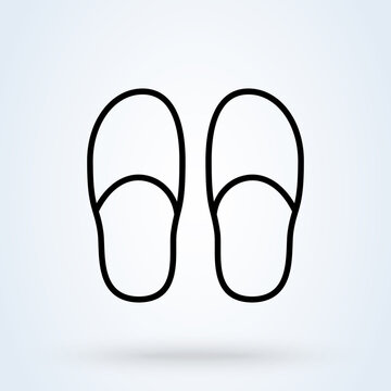slippers sign line icon or logo. slipper home concept. Bedroom slippers linear illustration.