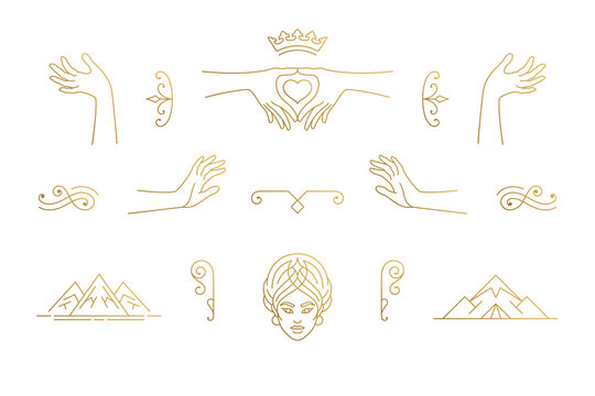Vector line feminine decoration design elements set - female face and gesture hands illustrations minimal linear style