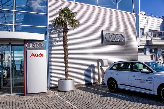 Kyiv, Ukraine - August 15, 2020: The Audi car store at Kyiv, Ukraine