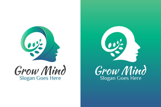 modern color growing mind or grow brain creative logo design with head man