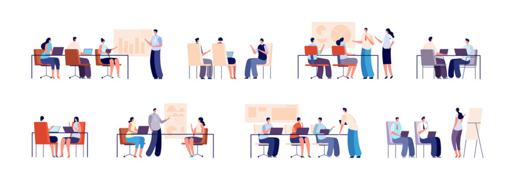 People on business training. Persons with computer, business group meeting. Modern office guys and coach with presentation utter vector set. Illustration training people in office, meeting corporate