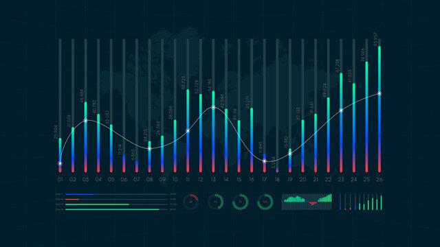 Dashboard infographic big data visualization, binary option, statistics and market analysis, vector illustration