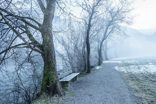 Wanderweg an einem nebeligen Flußlauf
