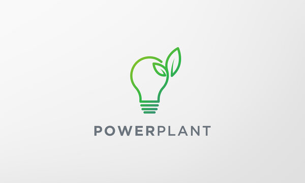simple green plant light bulb logo in modern style