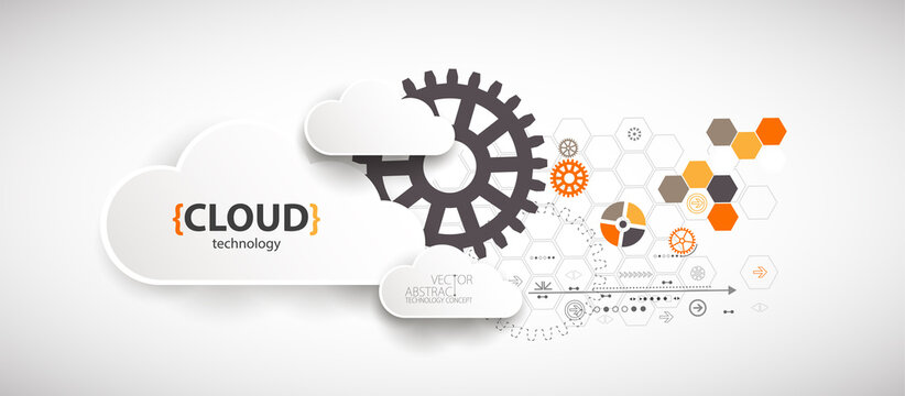 Cloud storage technology. Integrated digital web concept background.