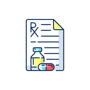 Prescription RGB color icon. Receiving medication prescribed online. Pharmaceutical drugs, vitamins. Physician order for patient. Medication adherence. Isolated vector illustration