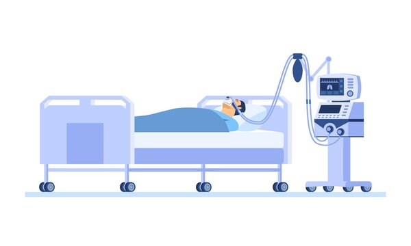 Severely ill patient lying on a hospital bed and breathing with the help of a ventilator. Lung disease treatment concept. Cartoon isometric vector illustration