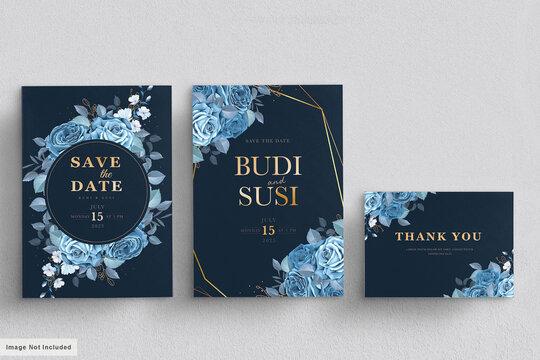 blue floral wedding card set