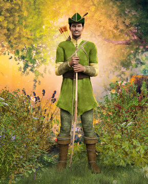 Heroic outlaw archer Robin Hood, from English folklore in the medieval Nottingham forest
