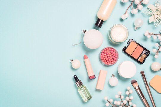 Natural cosmetics for winter make up. Idea for christmas sale, presents for winter holidays. Top view image with copy space.