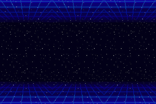 Pixel 80s Retro Wave Sci-Fi Background For game. Pixel art 8bit