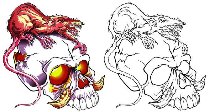 Rat zombie killers on the skull in tattoo style. Vector illustration