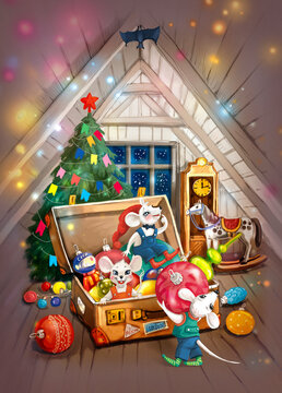 A group of little mice in the attic are dressing up a Christmas tree, they took out a chest with decorations. A bat is watching them. around the lights and the magic of the holiday. Outside the window