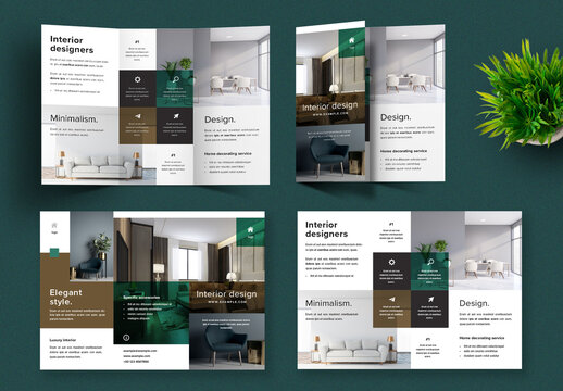Elegant Trifold Layout with Green and Brown Accent