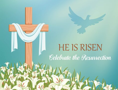 He is risen, celebrate the resurrection. Cross with shroud and lilies against the blue sky. The dove flies in the rays of light. Religious symbols of Good Friday and Easter. Vector illustration
