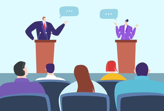 Political debate speakers on podium, candidates competition vector illustration. Leaders for tribune stage discuss arguments, argue in front audience. Public event before elections concept.