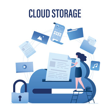 Woman user puts file in cloud storage. Upload and download data with remote servers via cloud technologies. Information storage service,