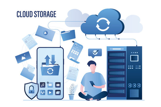 Big smartphone, male user uploading files in cloud storage. Upload and download data with remote servers via cloud technologies.