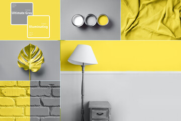Collage inspired by trendy colors of year 2021. Illuminating yellow and ultimate gray concept. Style design combination. Duotone. Color Psychology. Minimalistic interior. Depression treatment - fototapety na wymiar