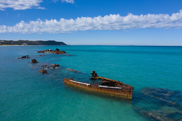 Aerial view of Tangalooma ship wrecks