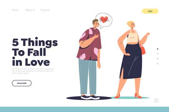 5 things to fall in love concept of landing page with cartoon man having romantic feeling for woman