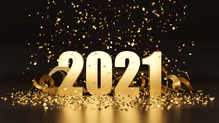 New Year 2021 dark golden