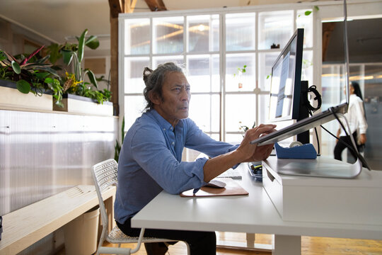 Man in startup business working at computer