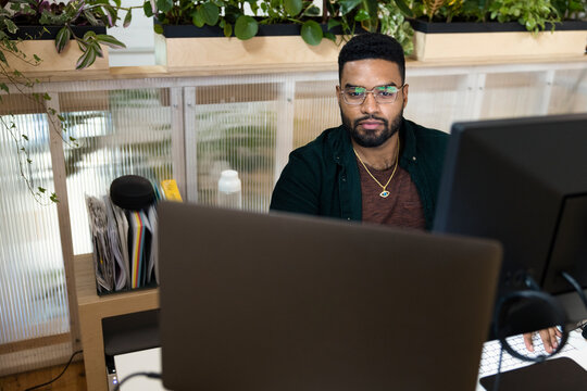 Man at startup business working at computer