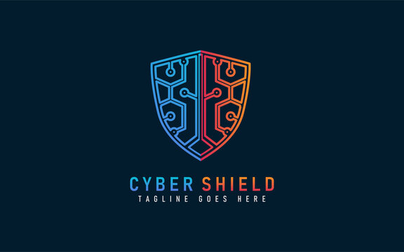 Cyber Shield Logo Design. Abstract Blue and Orange Shield Combination with Tech Style. Usable For Business, Community, Industrial, Security, Tech, Services Company. Vector Logo Design Illustration.
