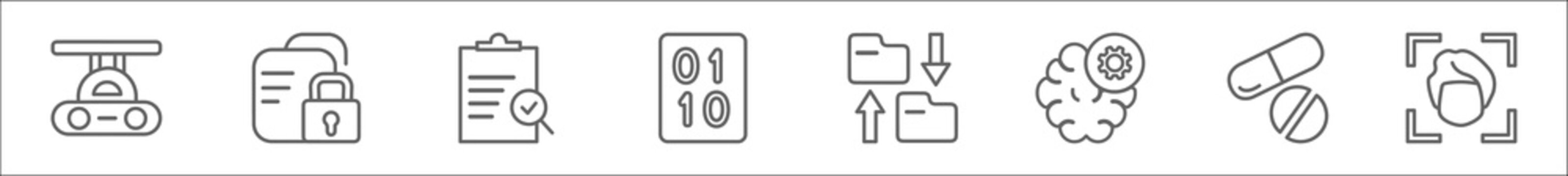 outline set of artificial intellegence line icons. linear vector icons such as high speed tube, secure data, evaluation, binary, file transfer, unsupervised learning, medicine, face recognition